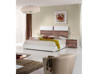Nova Domus Giovanna Italian Mid-Century White & Cherry Bed
