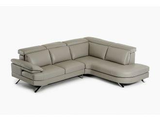 Estro Salotti Glenda - Italian Modern Grey Leather Right Facing Sectional Sofa