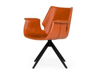 Modrest Hiawatha - Modern Cognac Eco-Leather Dining Chair