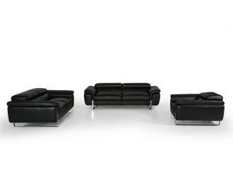 David Ferrari Highline Italian Modern Black Leather Sofa Set