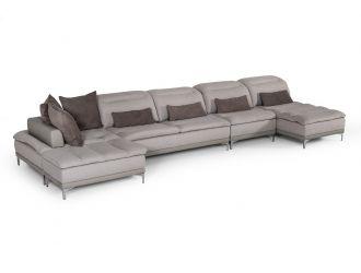 David Ferrari Horizon - Modern Grey Fabric + Grey Leather U Shaped Sectional Sofa
