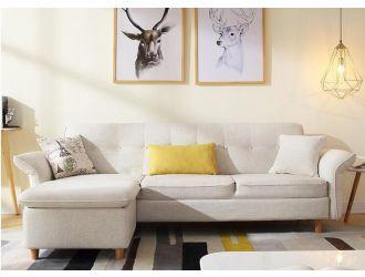 Divani Casa Jeremiah Modern Ivory Fabric Sofabed & Ottoman w/ Storage