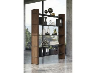 Modrest Glencoe - Modern Walnut & Black Glass Bookshelf