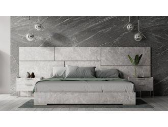 Nova Domus Marbella - Italian Modern Grey Marble Bed w/ 2 Nightstands