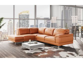 Accenti New York - Modern Cognac Leather Left Facing Sectional Sofa