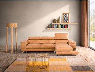 Estro Salotti Invictus - Italian Modern Cognac Leather Right Facing Sofa