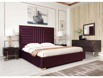 Modrest Daystar Eastern King Modern Wine Red Velvet & Gold Bed