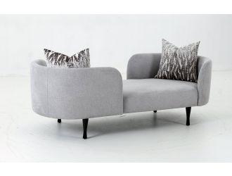 Divani Casa Jamie - Glam Light Blue Fabric Two Seater Chaise