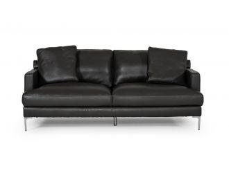 Divani Casa Janina - Modern Dark Grey Leather Sofa
