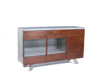 Modrest Monty Contemporary Concrete & Walnut Buffet