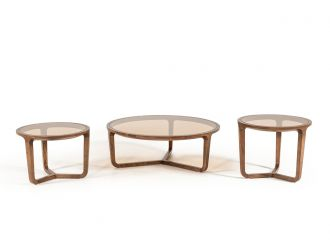 Modrest Jordi Modern 3-Piece Walnut Coffee Table Set