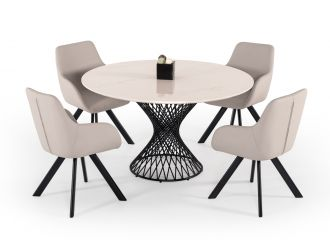 Modrest Joyce Modern Round White Cultured Marble Dining Table