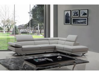Divani Casa Quebec - Modern Light Grey Eco-Leather Right Facing Sectional Sofa