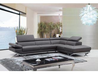 Divani Casa Quebec - Modern Dark Grey Eco-Leather Right Facing Sectional Sofa