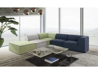 Divani Casa Polo - Modern Green + Blue + Grey Fabric Modular Sectional Sofa