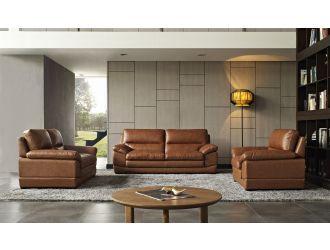 Divani Casa Kendrick - Traditional Modern Cognac Leather Sofa Set