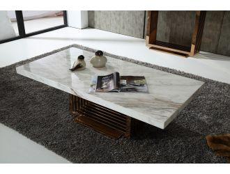 Modrest Kingsley Modern Marble & Rosegold Coffee Table