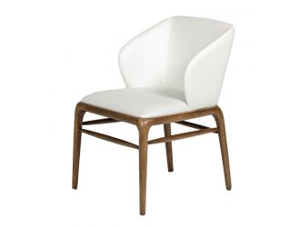Modrest Kipling Modern Cream & Walnut Dining Chair