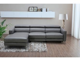 Divani Casa - Booth Modern Dark Grey Leather Left Facing Sectional Sofa with Recliner