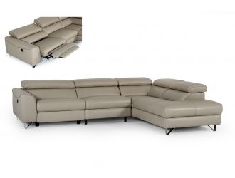 Divani Casa Versa - Modern Light Taupe Teco-Leather Right Facing Sectional Sofa with Recliner