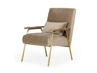 Modrest Laforet - Glam Beige and Gold Fabric Accent Chair