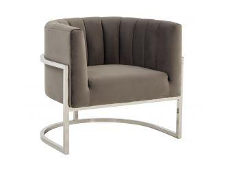 Modrest Landau - Modern Grey Velvet & Stainless Steel Accent Chair