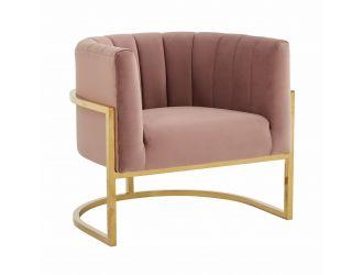Modrest Landau - Modern Pink Velvet & Gold Stainless Steel Accent Chair