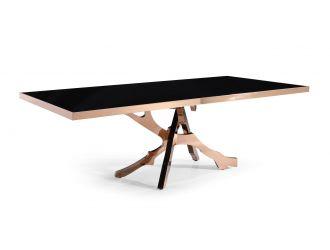 Modrest Legend - Modern Black Glass & Rosegold Dining Table