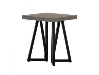 Modrest Richmond Modern Concrete & Black Metal End Table