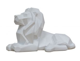 Modrest Lion  - White Geometric Sculpture