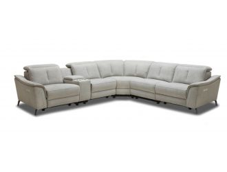 Divani Casa Lloyd - Modern Grey Fabric Sectional with Recliners + Console