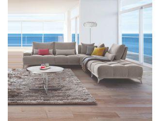 David Ferrari Loft - Italian Grey Fabric + White Leather Right Facing Sectional Sofa