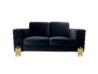 Divani Casa Lori - Modern Velvet Glam Black & Gold Loveseat