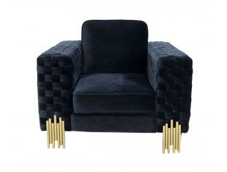 Divani Casa Lori - Modern Velvet Glam Black & Gold Chair