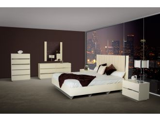 Luxor Modern Beige Lacquer Italian Bedroom Set
