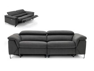 Divani Casa Maine - Modern Dark Grey Fabric Sofa w/ Electric Recliners