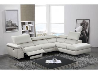 Divani Casa Maine - Modern Light Grey Eco-Leather Right Facing Sectional Sofa with Recliner