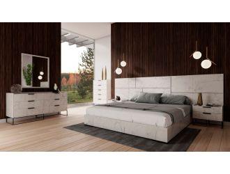 Nova Domus Marbella - Italian Modern White Marble Bed Set