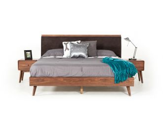 Modrest Marshall Mid-Century Modern Brown Fabric & Walnut Bed