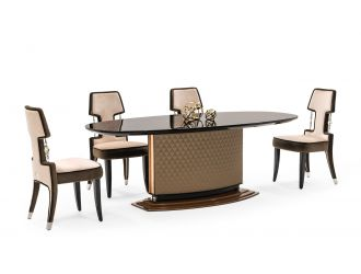 A&X Matilda - Glam Black & Copper Dining Table