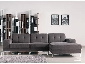 Divani Casa Forli - Modern Grey Fabric Right Facing Sectional Sofa