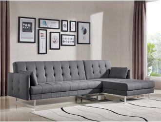 Divani Casa Lennox - Modern Grey Fabric Right Facing Sectional Sofa Bed