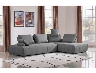 Divani Casa Edgar - Modern Grey Fabric Modular Sectional Sofa