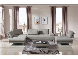 Divani Casa Baxter - Modern Grey Fabric Sectional Sofa + Coffee Table