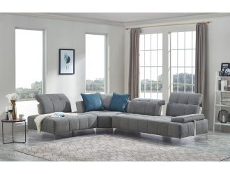 Divani Casa Nash - Modern Grey Fabric Sectional Sofa Adjustable Backrest