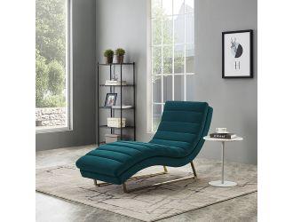 Divani Casa Auburn Modern Green Velvet Lounge Chaise