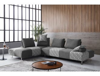Divani Casa Cooke - Modern Grey Houndstooth Fabric Modular Sectional Sofa Bed