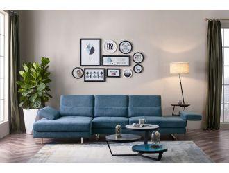 Divani Casa Denton - Modern Blue Fabric Left Facing Sectional Sofa