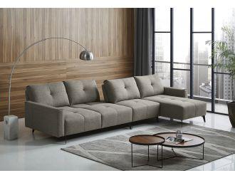 Divani Casa Kenton - Modern Grey Fabric Right Facing Sectional Sofa