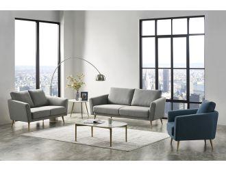 Divani Casa Benham Modern Grey & Blue Fabric Sofa Set
